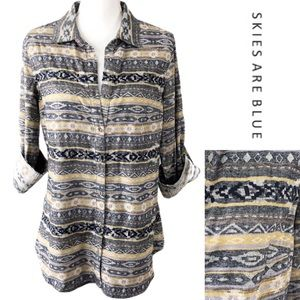 Skies Are Blue Western Style Button Up Shirt